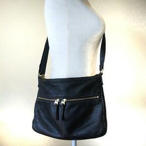 Fossil Black Soft Pebbled Black Leather Crossbody